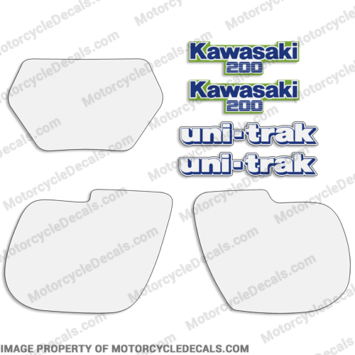 Kawasaki KDX 200 Decal Kit w/ Number Plates - 1987