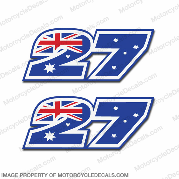 "Moto GP Number ""27"" Decals - Set of 2"
